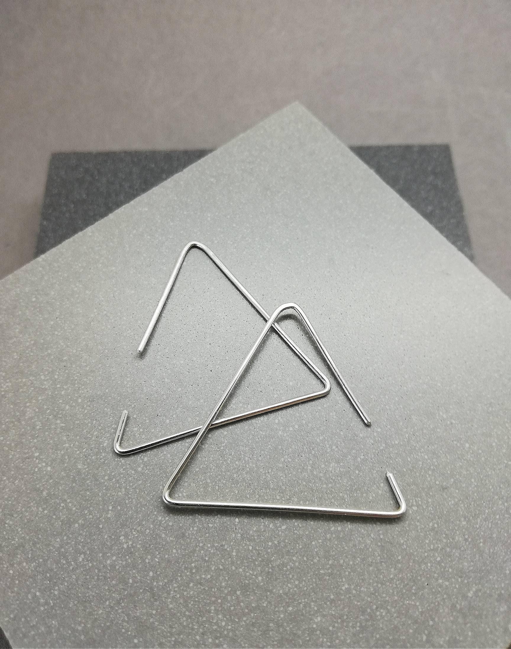 6afe62d0a91 Sterling silver triangle Earrings / Geometric earrings / Argentium Silver  dangle / Handmade Karmasilver UK / modern drop / open hoops