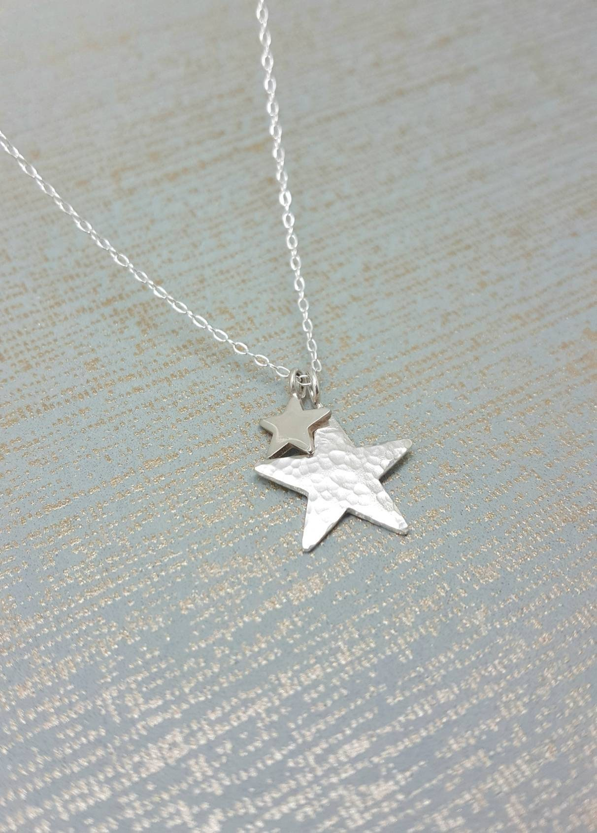Minimal Celestial Star Jewelry Perfect Gift for Her STERLING SILVER STAR Pendant Necklace Silver Star Charm Lucky Star Necklace