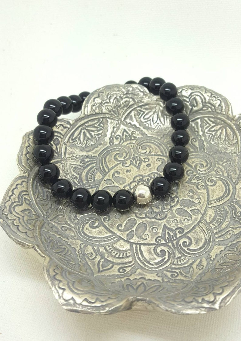 a78c423feebbb Men's black onyx bead bracelet, 925 Sterling silver bead, Stacking Surfer  beads, Stretch fit yoga cuff