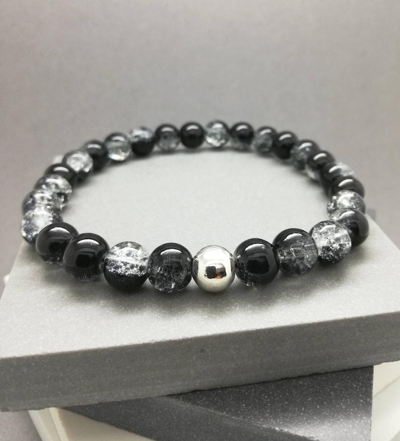 37a144970a2e0 Mens black bead bracelet / Stretch bracelet / Handmade UK / Modern /  Sterling silver bead / stacking surf yoga