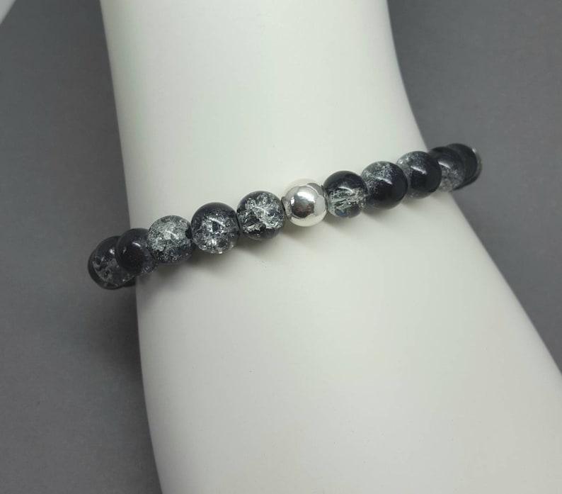77f87b94ab2eb Mens black bead bracelet / Stretch bracelet / Handmade UK / Modern /  Sterling silver bead / stacking surf yoga / Karmasilver shop
