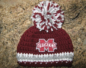Crochet Beanie Baby Hat (Mississippi State) Embroidered Logo - Maroon a4f19ddc24ad