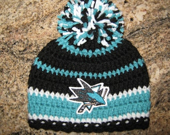 1643f618e3e Crochet Beanie Baby Hat (San Jose Sharks) Embroidered Logo - Black