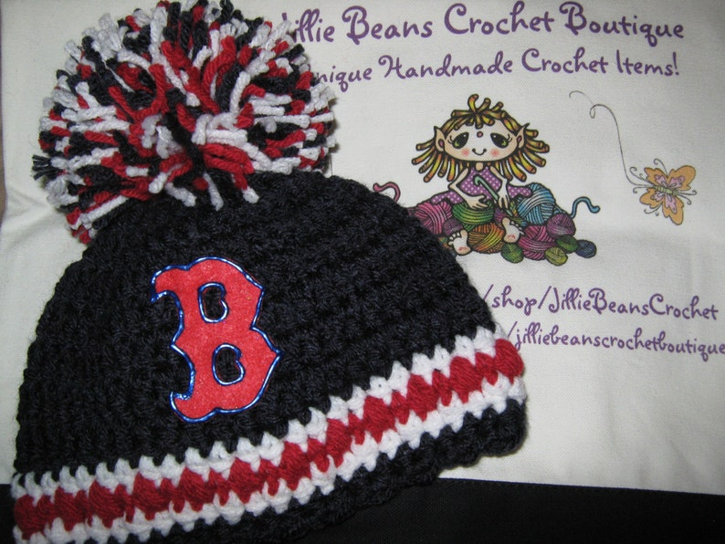0269ddda3 Crochet Beanie Baby Hat Boston Red Sox colors Blue Red and | Etsy