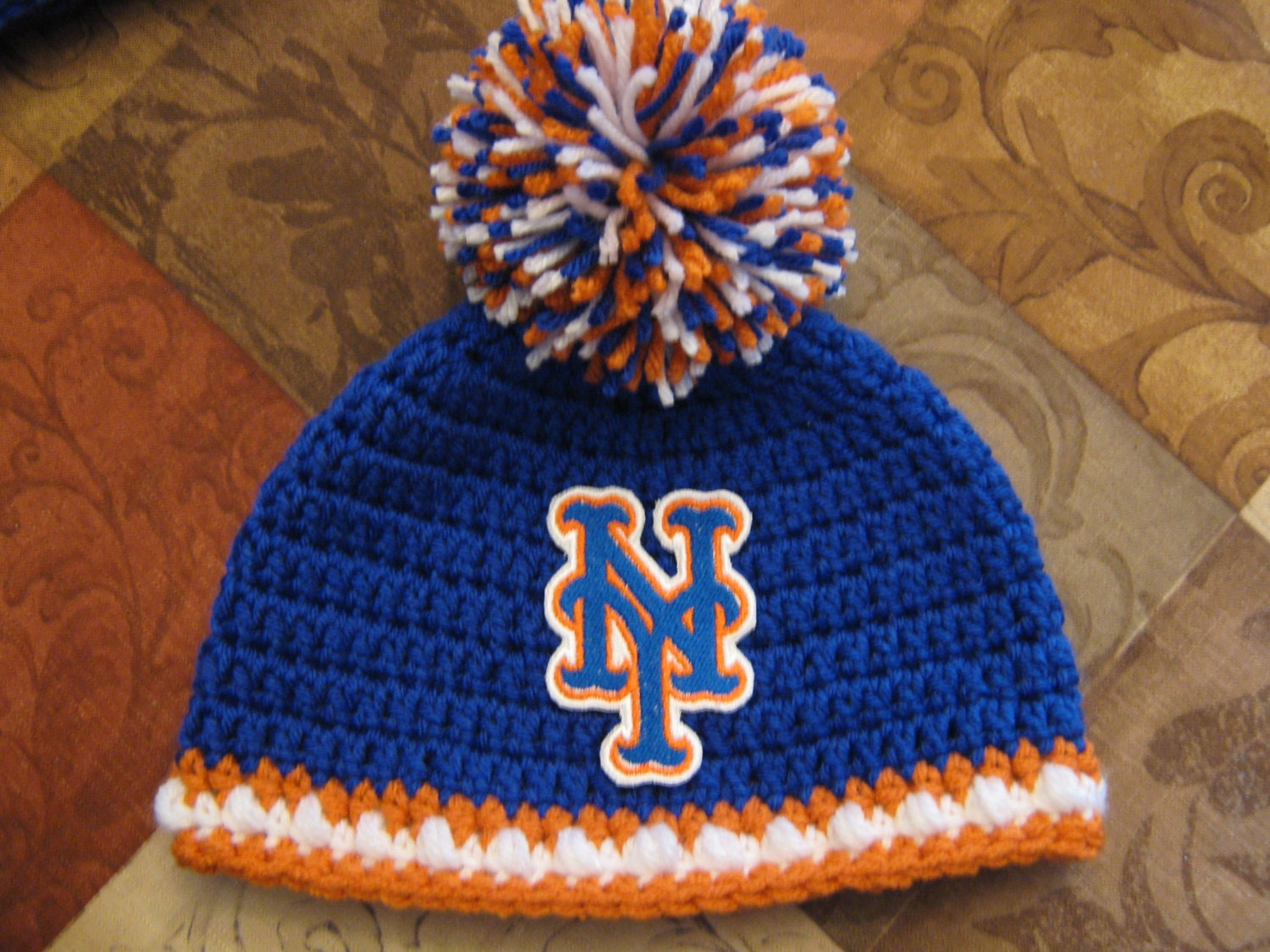 Crochet Beanie Baby Hat New York Mets colors Blue Orange  357569e6fa8
