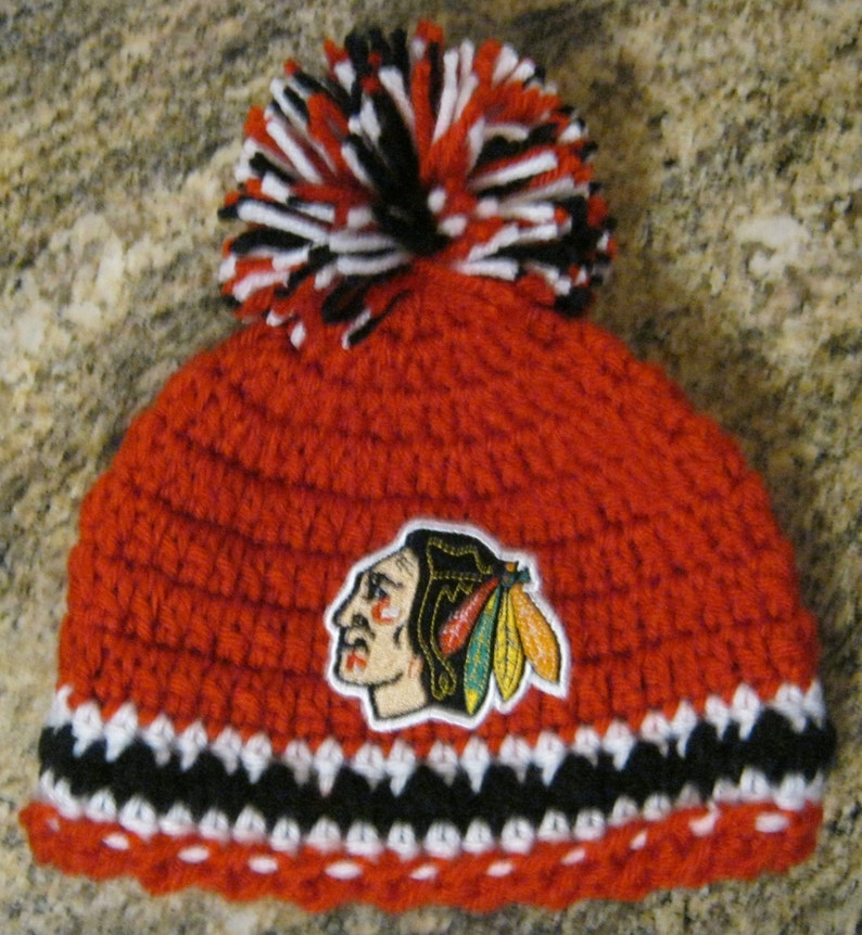 bc2fb0546 Crochet Beanie Baby Hat (chicago Blackhawks) Embroidered Logo - Red, Black  and White with embroidered Blackhawks logo and large pom pom