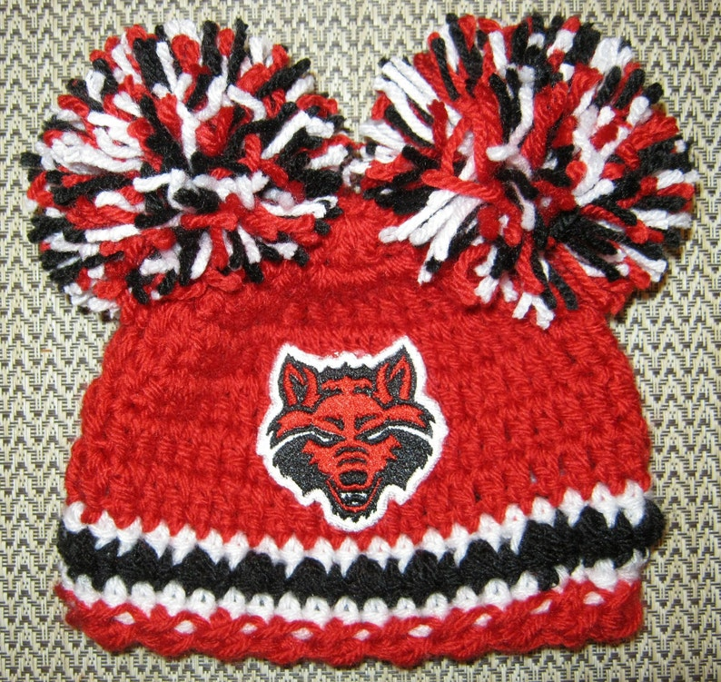 b5780fe2d Crochet Beanie Baby Hat - Embroidered Logo (Arkansas State Red Wolves) Red,  Black, and White with Red Wolves logo and 2 large pom poms