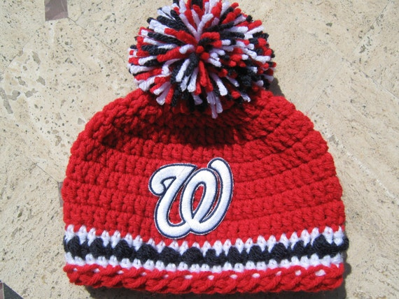 Crochet Beanie Baby Hat Washington Nationals Embroidered  659f3a48904