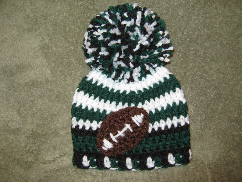 online store 83992 aa6ee Crochet Beanie Baby Hat with Football accent (Philadelphia Eagles colors)