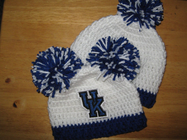 University of Kentucky Blue and White with UK embroidered logo and 1 large pom pom Crochet Beanie Baby Hat Embroidered Logo