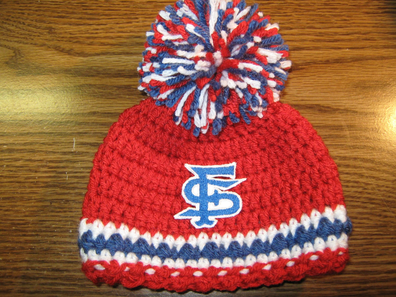 d177f541e Crochet Beanie Baby Hat - Embroidered Logo (Fresno State Bulldogs) Blue,  Red, White with an embroidered Bulldogs logo and 1 large pom pom