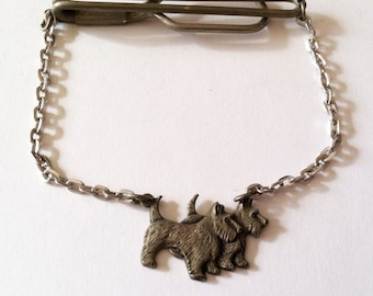 Vintage Art Deco Tie Chain - Silver Tone Scottish Terriers Scotties Tie Bar - Rare Dog Tie Clip