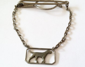 Vintage Art Deco Tie Chain - Silver Tone Weimaraner Tie Bar - Rare Dog Tie Clip