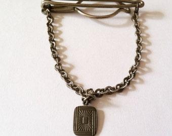 Vintage Art Deco Tie Chain - Silver Tone Etched Sunburst Pattern Tie Bar - Rare Tie Clip