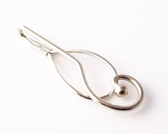 Vintage Art Deco Swirl Tie Clip - Silver Tone Tie Bar