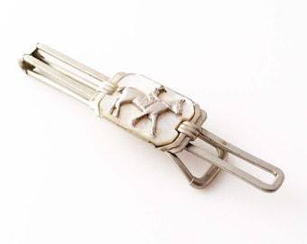 Vintage Art Deco Tie Clip - Silver Tone Equestrian Mother of Pearl Deco Tie Bar