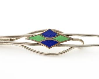 Vintage Art Deco Enamel Tie Clip - Silver Tone Blue & Green Tie Bar - Rare