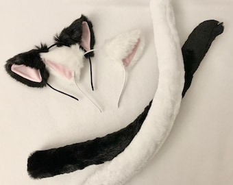 Cat Ears and Tail Multiple Colors cat ears headband kitty ears kitty tail kitty tail and ears cat tail and ears cat costume cat cosplay