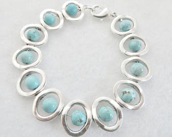 Southwest Bracelet Southwestern Bracelet Turquoise Bracelet Silver and Turquoise Native American Look Ethnic Tribal Geometric Summer Boho