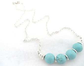 Necklace Southwestern Necklace Turquoise Silver Southwest Necklace Minimalist Necklace Turquoise Necklace Gemstone Gift For Her