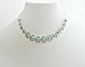 Silver and Turquoise Necklace Southwest Style Necklace Native American Look Ethnic Tribal Geometric Statement Necklace Turquoise and Silver