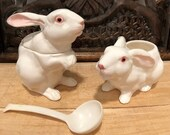 Creamer and Sugar Bowl Shaped as  Bunny.  Funky Dishes by Otagiri, Japan.