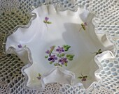Fenton Milk Glass Bowl. Bowl with Silvercrest Ruffled and Scalloped Rim and Hand Painted Violets.