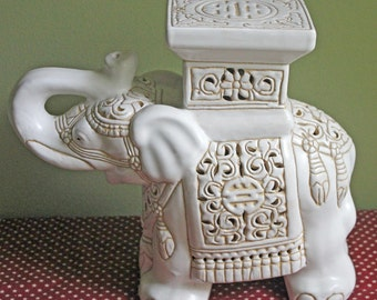 Elephant Statue. Ceramic Elephant With Intricate Details. Extra Large Statue  Of Elephant For Home Decor, Library Or Mantel Display.