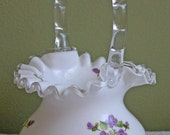 Fenton Milk Glass Basket. Basket with Silvercrest Ruffled and Scalloped Rim and Hand Painted Violets.