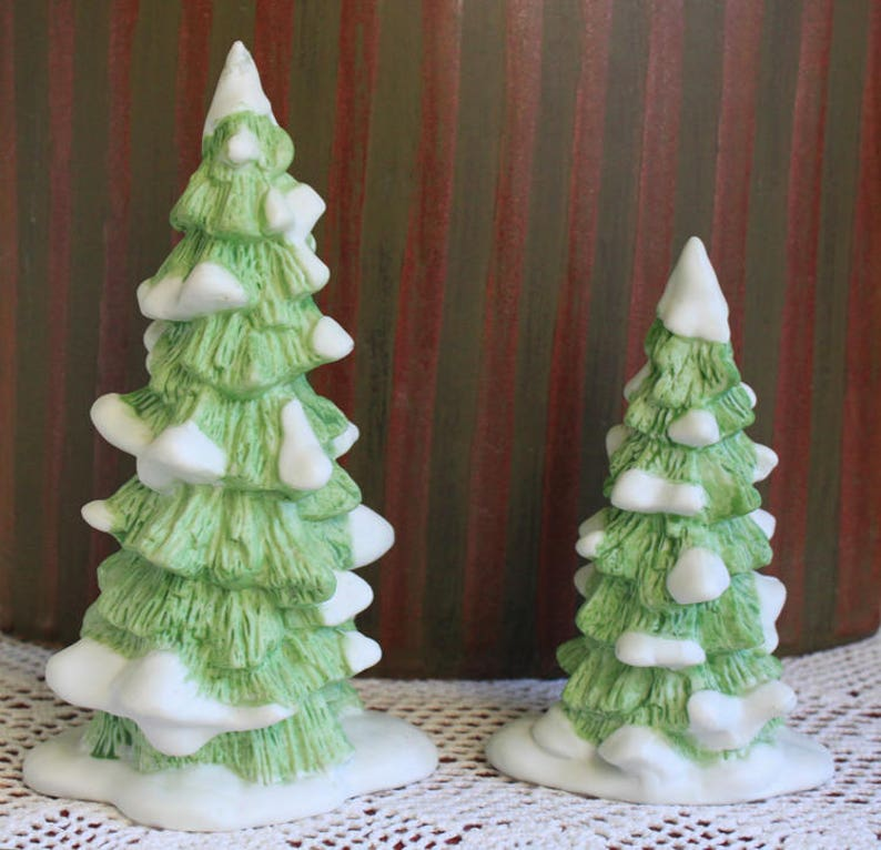 Department 56 Christmas Tree.Christmas Trees By Department 56 Set Of Two Trees For Christmas Village Or Free Standing Winter Home Decor
