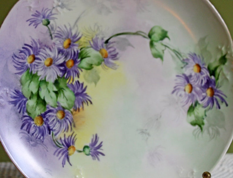 Plate Made in Austria. Hand Painted Display Plate Antique Decorative Plate Porcelain Plate with Chrysanthemums