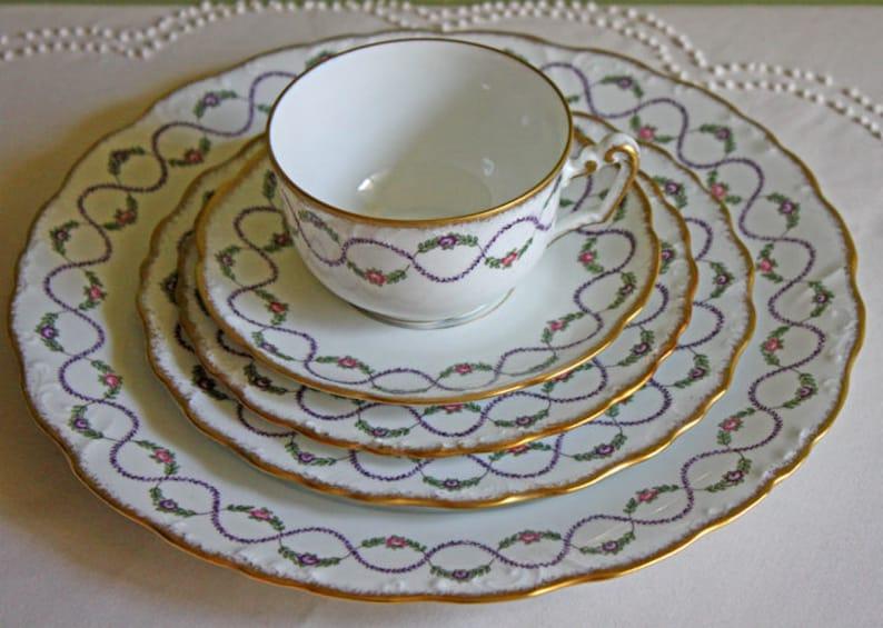 Antique Limoges Porcelain Serving Set  Dinner Plate, Salad Plate , Dessert  Plate, and Tea Set  Pommard Set by Royal Limoges, France