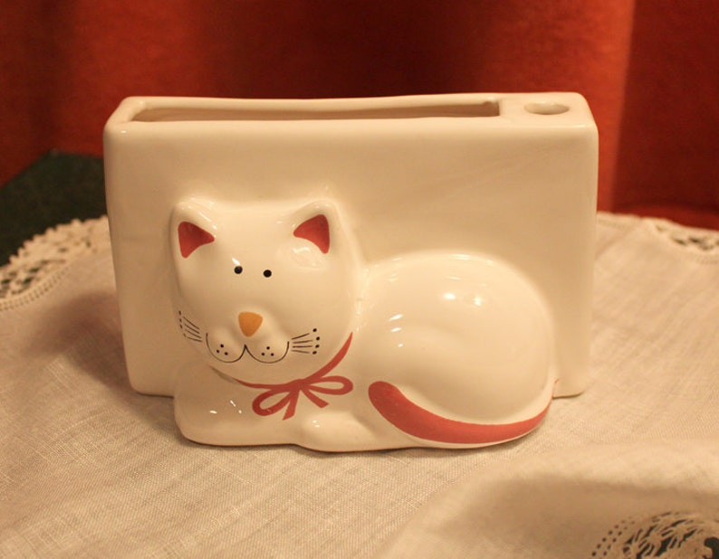 Pottery Box Decorated with Hand Painted Kitty Made in Brazil. Note Paper and Pen Holder