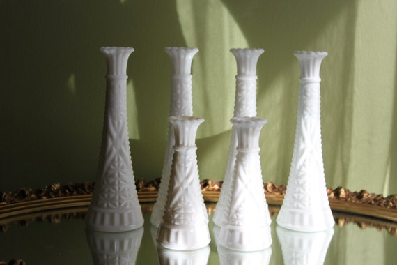 Flute Vases Milk Glass Vases With Intricate Cut Pattern Set Etsy