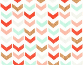 CORAL & MINT ARROW Fabric by the Yard Fat Quarter Gold Metallic Fabric Triangle Fabric Quilt Fabric Apparel Fabric 100% Cotton Fabric a5-20