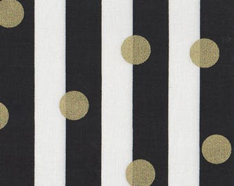 BLACK & WHITE STRIPE Fabric by the Yard, Fat Quarter Metallic Gold Fabric Black Gold Quilting Fabric Apparel Fabric 100% Cotton Fabric a3-10