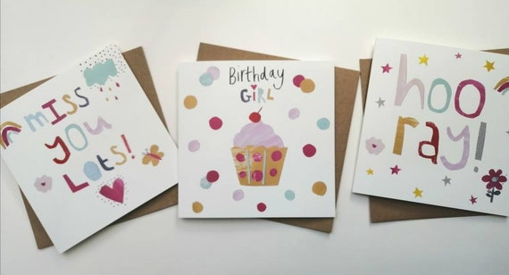 Miss you card, Hooray card, Birthday girl card