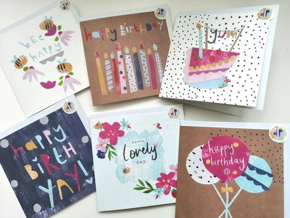 Happy birthday greeting cards, various designs, pretty and modern