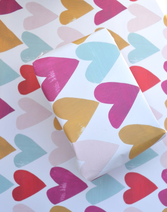 Pretty collaged hearts gift wrap, multi coloured single sheet of A2