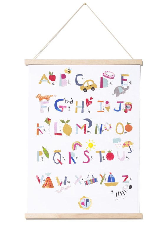 A3 Alphabet Poster, Nursery Poster, Kids Poster, A to Z poster