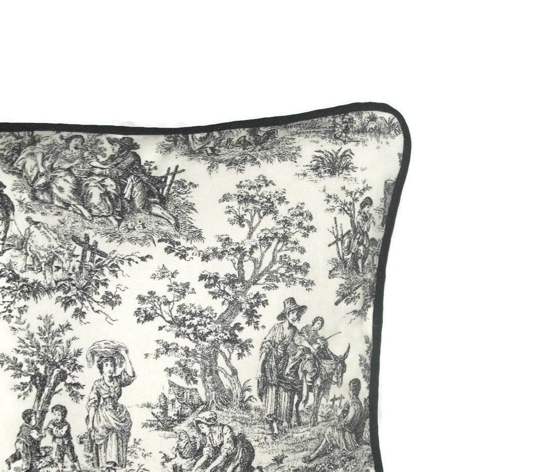 Toile Pillow Cover Black And White Pillow Cover Black