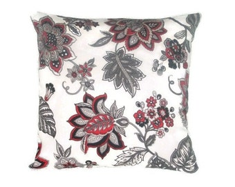 Pillow Cover, Red, Black and Grey, Bold Floral Print, Waverly Fabric, 20 x 20 Inches
