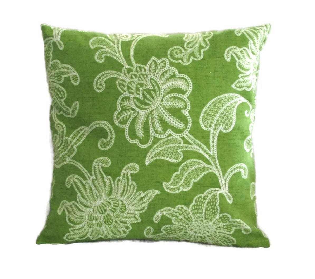 Indoor Outdoor Pillow Cover In Bright Green And White Floral Design