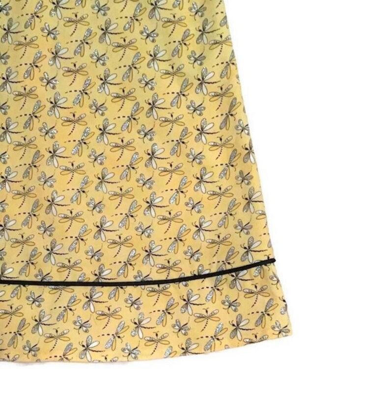 Girl/'s Dress Metallic Print DressSundress Dragonfly Print Sundress Yellow And Black Metallic Dragonfly Print Size 3