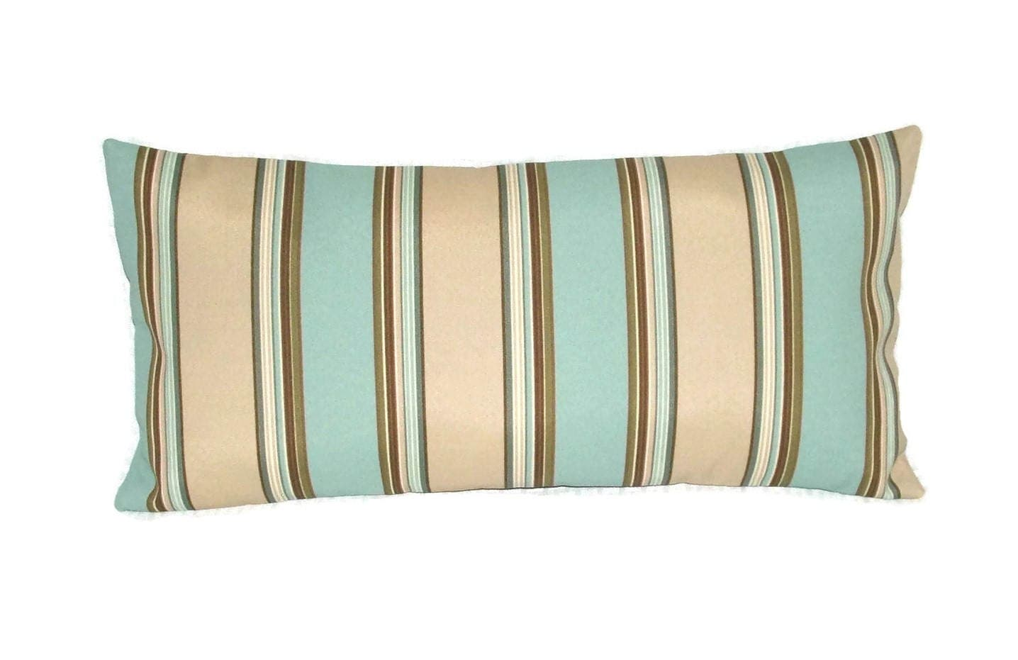 Indoor Outdoor Lumbar Pillow Cover In Beige Brown And Turquoise