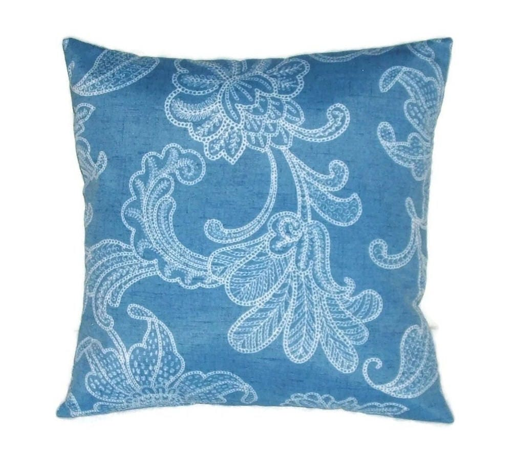 Indoor Outdoor Pillow Cover In Bright Blue And White Floral Design