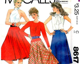 Misses and Young Junior/Teen Circular and Bias Skirts in Three Widths, Size 16 (Waist 30), McCall's 8617