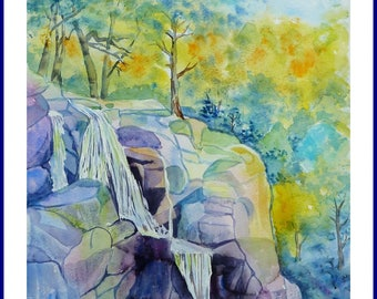 Watercolor - Waterfall on the rocks