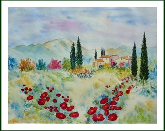 Watercolor - Field of poppies in the South