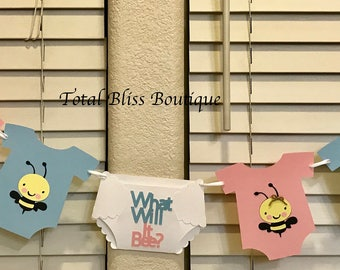 FREE SHIPPING-What Will it Bee, Gender Reveal Baby Shower, Bumble Bee Baby Shower Banner, Bee Baby Shower Decorations, Bee Party, Bee Decor
